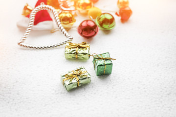 In selective focus of gift boxes put on background,warm light tone,blurry light design background