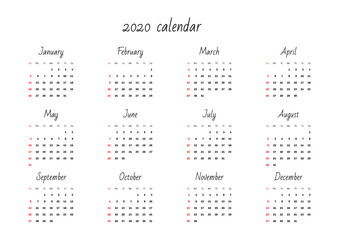 Monthly calendar 2020 template. Vector illustration 8 EPS.