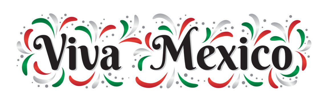 Lettering Viva Mexico traditional mexican holiday phrase. Greeting card with holiday. Vector illistration.