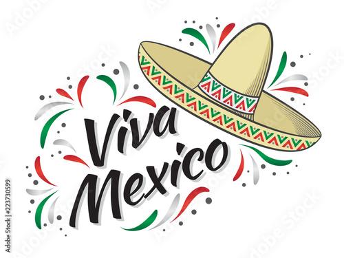 Lettering viva mexico traditional mexican holiday phrase greeting lettering viva mexico traditional mexican holiday phrase greeting card with holiday sombrero vector m4hsunfo