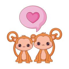 cute couple monkeys love speech bubble