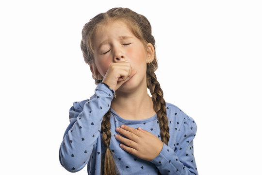 Sick girl coughing