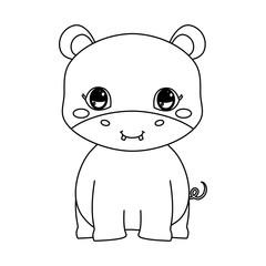 cute hippo baby sitting cartoon