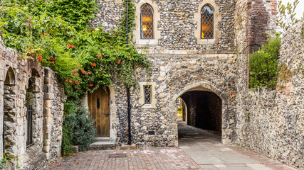 Cantebury cathedral back door entrance in Canterbury England UK