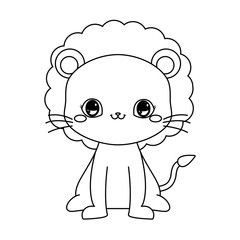 cute lion baby sitting cartoon