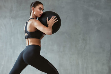 Sports Woman Training In Fashion Black Sportswear