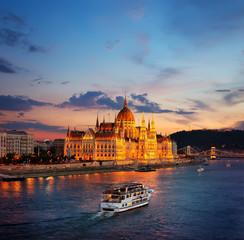 Printed kitchen splashbacks Budapest Hungarian Parliament on Danube
