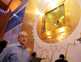 Presidential candidate Ciro Gomes attends a campaign rally at the Basilica of the National Shrine of Our Lady of Aparecida in Aparecida do Norte