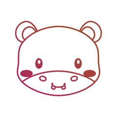 cute face hippo cartoon animal