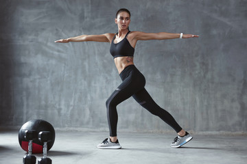 Sports Woman Workout In Black Stylish Sport Clothes