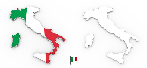3D map of Italy white silhouette and flag