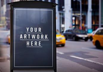 Advertisement near City Street Mockup
