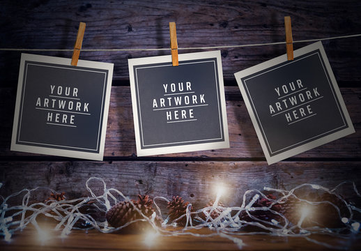 Three Instant Film Photos on Clothes Wire Mockup
