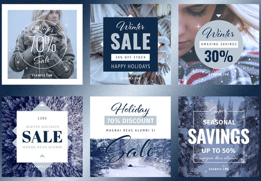 Winter Holiday Fashion Sale Social Media Post Layout Set