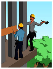 Vector illustration of expert construction workers working on exterior of a house.