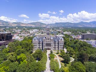 Aerial view of Salt Lake City and County Building in Salt Lake City, Utah, USA.