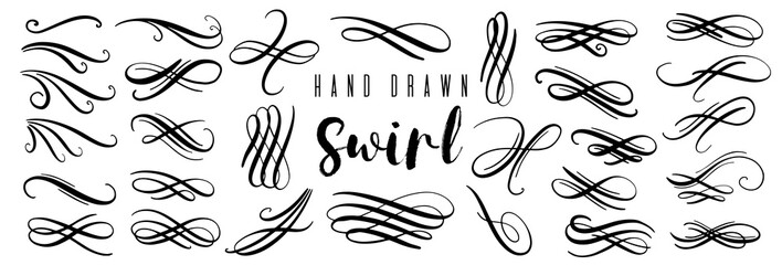 Hand drawn decorative curls and swirls collection. Vintage vector design elements.