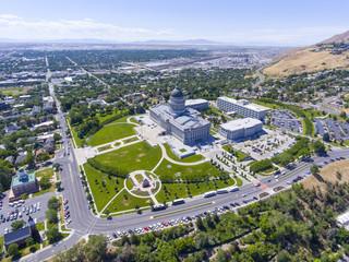 Aerial view of Utah State Capitol in Salt Lake City, Utah, USA.