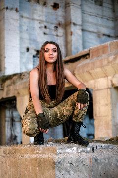 portrait of military girl