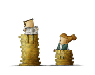 Gender wage difference concept. Illustration man and a woman sitting on top of a pile of coins. Isolated