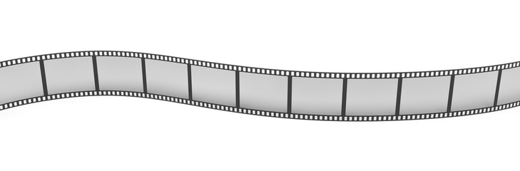 3d rendering of a single film strip arranged in turns and bends on white background.