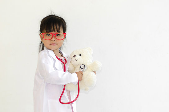 doctor, girl, white, cute, little, background, child, kid, medical, stethoscope, young, happy, portrait, cheerful, care, childhood, medicine, playing, children, isolated, health, headphones, asian, pe