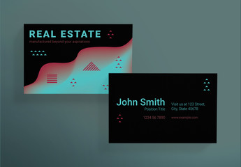 Business Card Layout Set with Geometric Elements