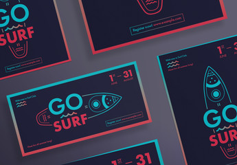 Flyer Layout Set with Surfboard And Wave Elements