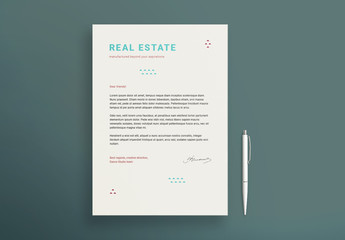 Letterhead Layout Set with Geometric Elements