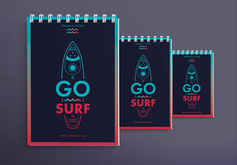 Notebook Cover Layout Set with Surfboard And Wave Elements