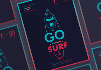 Poster Layout Set with Surfboard And Wave Elements