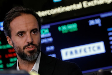 Online fashion house Farfetch's CEO Jose Neves speaks during an interview on CNBC following his company's IPO at the NYSE in New York