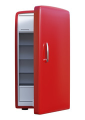 3D Rendering Red Rrefrigerator on White