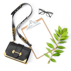 Fashion flat lay social media Notepad green leaf feminine accessories