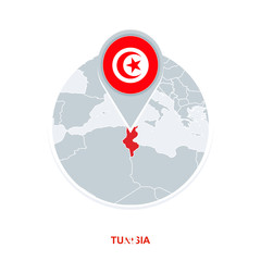 Tunisia map and flag, vector map icon with highlighted Tunisia