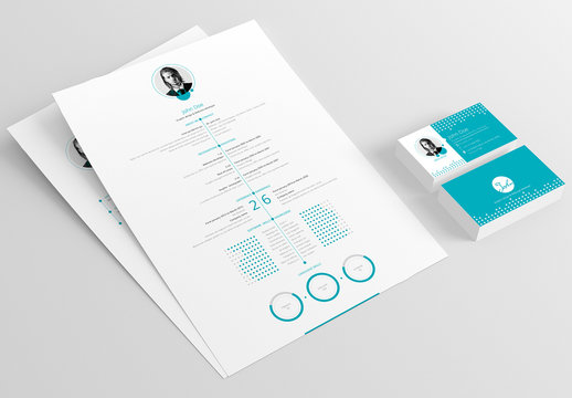 Blue Resume, Cover Letter, and Business Card Layout