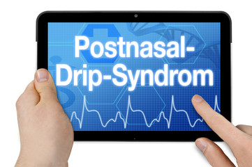 Tablet mit Diagnose Postnasal-Drip-Syndrom