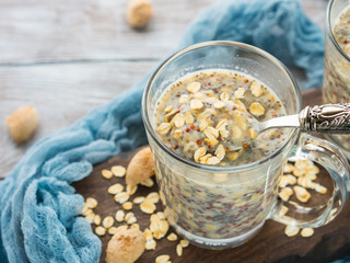 Overnight oat quinoa porridge with coconut milk and banana