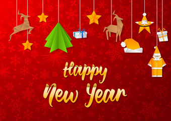 Happy New Year greeting card with Christmas decoration.