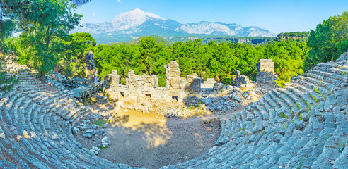 Poster Turquie Antique amphitheatre and Mount Tahtali, Phaselis, Tekirova, Turkey