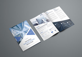 Bifold Brochure Layout with Triangular Elements