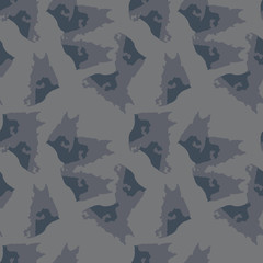 UFO military camouflage seamless pattern in different shades of grey and navy blue colors