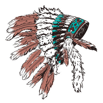 Dotwork style hat with indian feather. Grunge vector art.