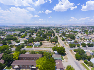 Aerial view of Town of Price historic center in Price, Utah, USA.
