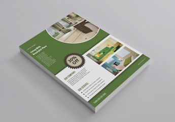 Interior Design Flyer Layout with Green Accents