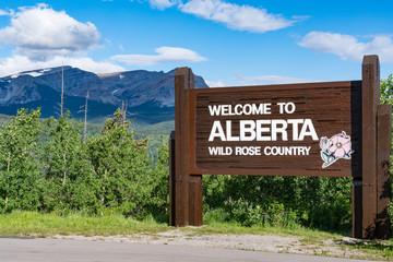 Welcome to Alberta Canada Roadside Sign