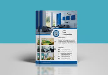 Interior Design Flyer Layout with Photo Header
