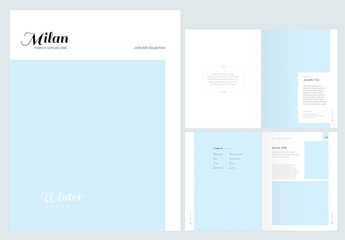 Fashion Lookbook Lay catalogout with editable Pastel Blue Accents