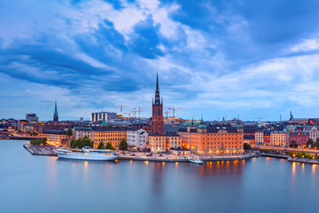 Scenic aerial night view of Riddarholmen, Gamla Stan, in the Old Town in Stockholm, capital of Sweden