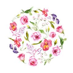 watercolor drawings of summer flowers circle, sketch